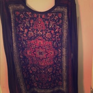 Black and Red Boatneck Tunic, Boho, Sz L